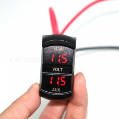 IZTOSS B3169 Switch Shaped 12~24V Dual Red Light Digital Display Voltmeter for Car Ship