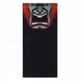 Multi-functional Outdoor Cycling Angry Pattern Seamless Polyester Magic Scarf Face Mask - Red + Black