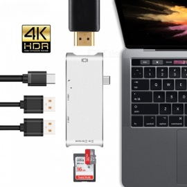 6-in-1 USB C HUB Type-C HDMI Adapter 4K USB 3.1 with Type-C Power Delivery SD/TF Card Reader for MacBook Pro - Silver