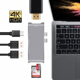 USB C HUB HDMI para el adaptador MacBook Pro hub, thunderbolt 3 USB-C HDMI USB 3.1 SD / TF lector de tarjetas + type-c power delivery tipo C hub