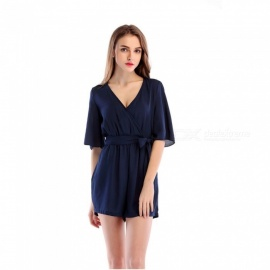 Chiffon Casual V-Neck Belt Jumpsuit for Women - Navy Blue (XL)