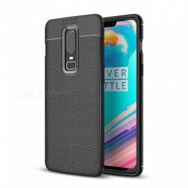 Dayspirit Lichee Pattern Protective TPU Back Cover Case for OnePlus 6 - Black