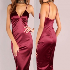 New V-Neck Strap Long Dress, Sexy Night Club Outfit - Red (L)