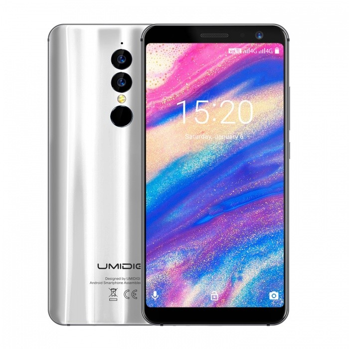 UMIDIGI A1 Pro 18:9  5.5 Inches MTK6739 1.5GHz 4G Smartphone with 3GB RAM, 16GB ROM - Silver