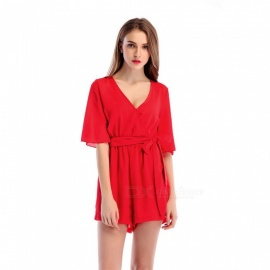 Chiffon Casual V-Neck Belt Jumpsuit for Women - Red (S)