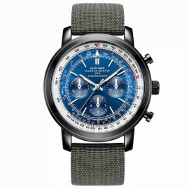 Hannah Martin 2001 Men's Flight Crew Quartz Warist Watch w/ Nylon Strap, 3 Decorative Dials, 30m Waterproof - Geen + Blue