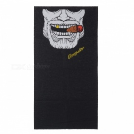 Multi-functional Outdoor Cycling Man Smoking Pattern Seamless Polyester Magic Scarf Face Mask - White + Black