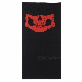 Multi-functional Outdoor Cycling Skull Pattern Seamless Polyester Magic Scarf Face Mask - Red + Black