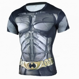 Outdoor Batman Pattern Short Sleeve Men's T-shirt - Grey + Black (XXXL)
