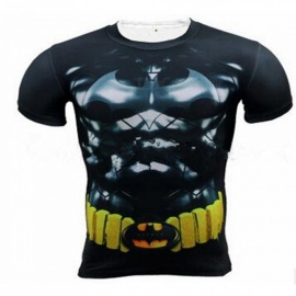 Outdoor Multi-functional Batman Pattern Short-sleeved Men's T-shirt - Black + Yellow (XXXL)