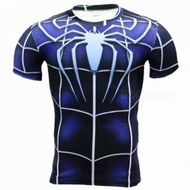 Outdoor Sports Spider Pattern Short Sleeve Men's T-Shirt - Blue (M)