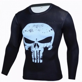 Outdoor Sports Punisher Pattern Long Sleeve Men's Shirt - Blue (XXXL)
