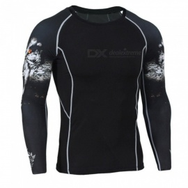 3D Printing Quick Drying Long Sleeves Tight Fitting Male T-shirt (XXXL)