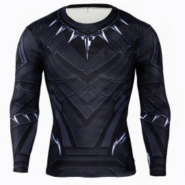 3D Quick Drying Long Sleeves Tight Fitting Male T-shirt - Black (XXXL)