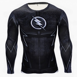 3D Style The Flash Logo Quick Drying Long Sleeves Tight Fitting Male T-shirt (XXXL)