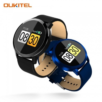 OUKITEL W1 Round Color Screen Smart Watch with Blood Oxygen Blood Pressure Heart Rate Monitoring Long Standby - Black