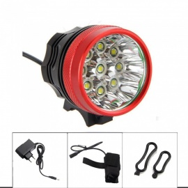 ZHAOYAO XML-T6 9-LED Bicycle Bike Front Light, 3-Mode 12000LM Headlamp Headlight - Red