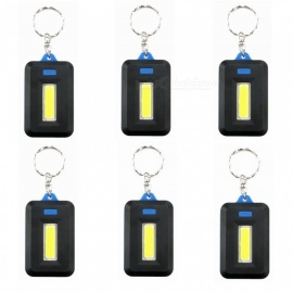 ZHAOYAO 6Pcs Mini COB 3-Mode Key Chain LED Light - Black + Blue