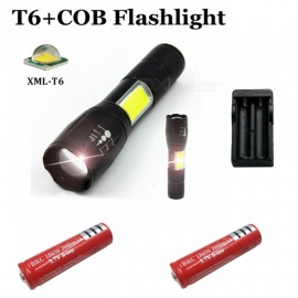 ZHAOYAO 1500lm XM L-T6 + COB 4-Mode White Light Zoomable Tactical Flashlight with 2 x 18650 Red Batteries + EU /US Power Charger