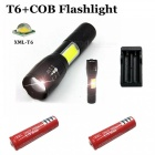 ZHAOYAO 1500lm XM L-T6 + COB 4-Mode White Light Zoomable Tactical Flashlight with 2 x 18650 Red Batteries + EU Power Charger