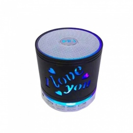 SPO Multi-function Portable Metal 7 Color Light Bluetooth Speaker - Black