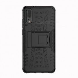 Protective TPU + PC Back Case with Holder Stand  for Huawei P20 - Black