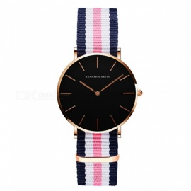 Hannah Martin CH36 Women's Ultra-thin Japanese Movement 30m Waterproof Nylon Strap Wrist Watch - Multicolor + Golden