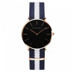 Hannah Martin CH36 Women's Ultra-thin Japanese Movement 30m Waterproof Nylon Strap Wrist Watch - White + Blue + Golden