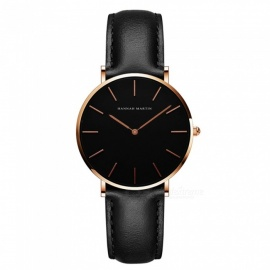 Hannah Martin CH36 Women's Ultra-thin Japanese Movement 30m Waterproof PU Leather Strap Wrist Watch - Black + Golden