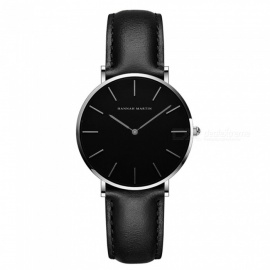 Hannah Martin CH36 Women's Ultra-thin Japanese Movement 30m Waterproof PU Leather Strap Wrist Watch - Black + Silver