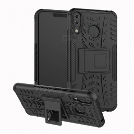 Protective TPU + PC Back Case with Holder Stand for ASUS Zenfone 5 ZE620KL - Black