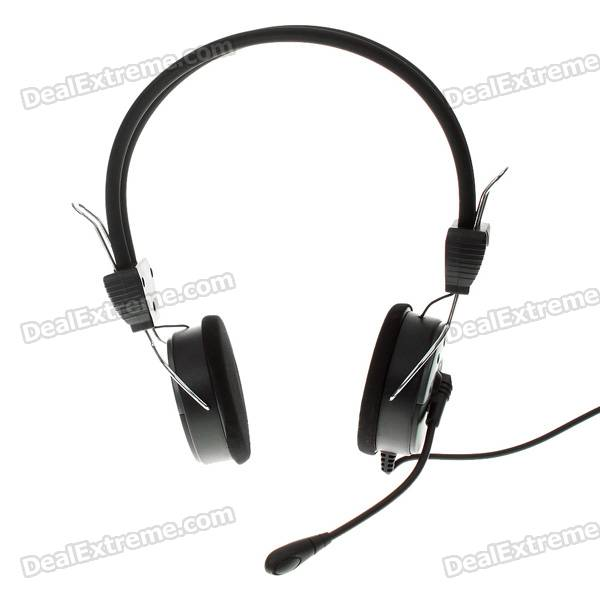 On-Ear Closed Back Stereo Headphones with Microphone & Volume Control (3.5mm Jack)