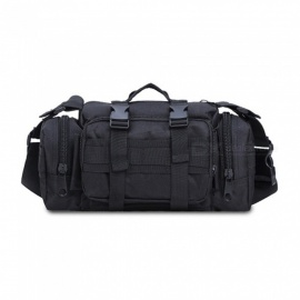 Multifunctional Tactical Army Fan Sports Casual Waist Bag One Shoulder Bag Handbag - Black