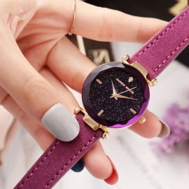Hannah Martin HM-D1 Women's Quartz Wrist Watch Diamond Shaped Starry Sky Mirror Dial, PU Leather Strap - Purple