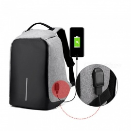 15.6 Inch Business Travel Anti-Theft Slim Durable Laptop Backpack with USB Charging Port - Gray