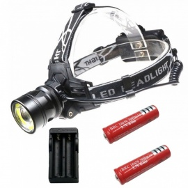 ZHAOYAO Waterproof Zoomable T6+COB 4-Modes 1500LM LED COB Head Lamp With 2x18650 Battery + EU Plug Charger