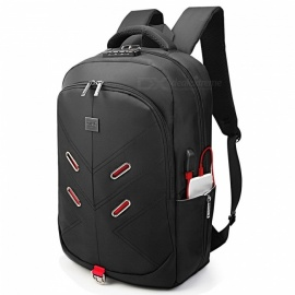 DTBG 17.3 Inches Anti-theft Water Resistant Laptop Backpack w/ TSA Lock, USB Charging Port, Headphone Hole, Luggage Strap