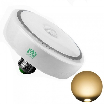 YWXLight E27 12W PIR Infrared Motion Sensor LED Induction Bulb Auto Warm White Light