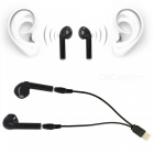 TWS Wireless Dual Bluetooth Headset Twins Stereo Headphone Cordless Sports Earphones - Black