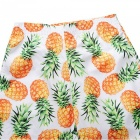Men's Pineapple Printed Casual Cotton Beach Short Pants Shorts (XXL)