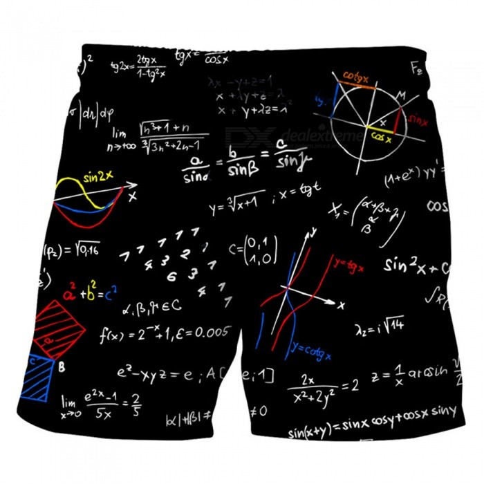 Men's Equation Printed Casual Cotton Beach Short Pants Shorts (XXL)