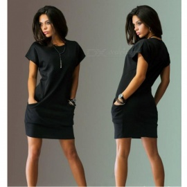 Stylish Short Sleeves Slim Casual Dress - Black (S)