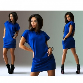 Stylish Short Sleeves Slim Casual Dress - Blue (XXL)