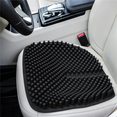 Qook 18 Inches Silica Gel Car Seat Cushion, Round & Non-Slip Chair Pad for Office Truck Home - Black