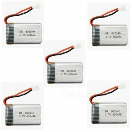 5PCS Upgraded 802540 High Power 3.7V H8 650mAh Lipo Batteries for SYMA X5C X5C-1 X5 JJRC H5C