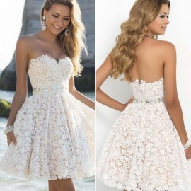 New High-end Lace Short Dress, Sexy Tube Top Sleeveless Bridesmaid Dress - White / L