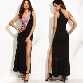 New Women's Sexy One-Shoulder Sleeveless Slit Sequin Patchwork Dress - Black (S)