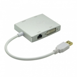 4-in-1 Multi-Function USB 3.0 to HDMI DVI VGA RJ45 Adapter 1080p HD Video Converter - Silver
