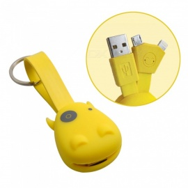 Munkees Silicone Mini Keyring Data Charging Cable for IPHONE Android Samsung Xiaomi Tablet PC - Yellow