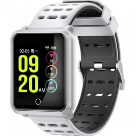 N88 IP68 Waterproof Bluetooth Touch Screen Smart Bracelet with Heart Rate Blood Pressure Monitoring - White